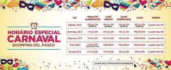 Horário de Funcionamento – Carnaval 2017